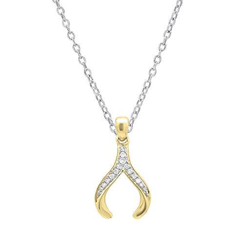 Dazzlingrock Collection 0.15 Carat (ctw) 10K Round Diamond Ladies Fashion Wishbone Pendant, Yellow ()