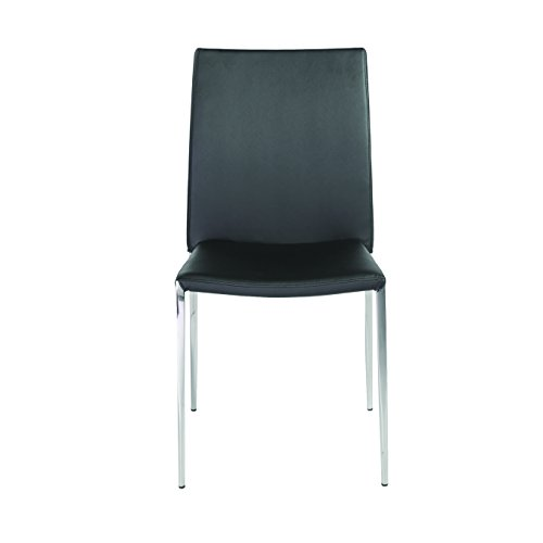 Euro Style Diana Soft Leatherette Stacking Side Chair with Stainless Steel Frame, Black, Set of 4 - Diana Metal Chair