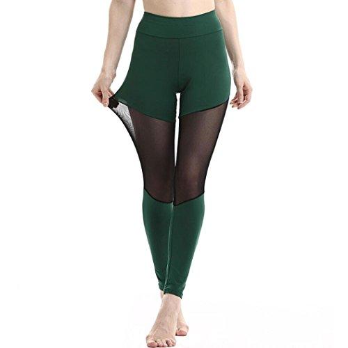 2018 Hot Sale Yoga Leggings, vermers Women Patchwork Mesh Casual Pants Fitness Trousers(L, Green)