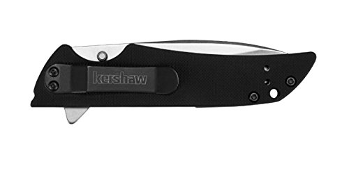 "Kershaw Skyline (1760), Lightweight Pocketknife, Manual Open 3.1"" High-Performance Sandvik 14C28N Stainless Steel Blade, Stonewashed Finish, Textured G-10 Handle, Reversible Pocket Clip, 2.5 OZ."