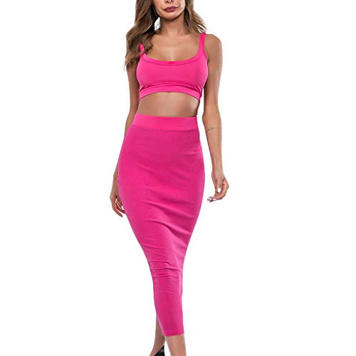 (Women 2 Piece Outfits Sets Clubwear Sleeveless Cami Top and Skirt Set Solid Color Sexy Club Wear Sets Bodycon Suit Two Piece for Women)