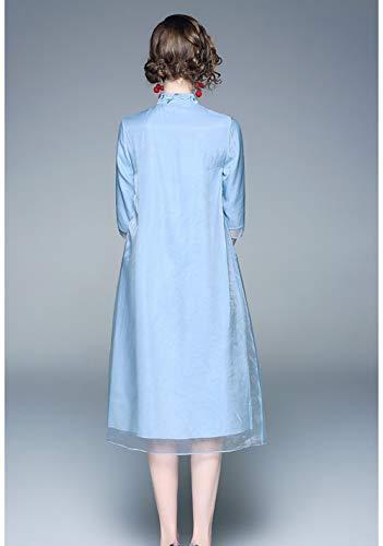 Primavera m Vestido Temperamento Verano Nacional Collar Y Retro Damas Blue Cheongsam white Cuello De Delgado Mejorado Bordado Chino UrwU1a