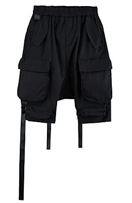 ByTheR Men's Stylish Comfort Banding Waist Baggy Strap Cargo Pocket Shorts Pants