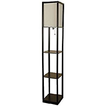 mainstays shelf floor lamp with off white shade black floor lamp with shelves. Black Bedroom Furniture Sets. Home Design Ideas