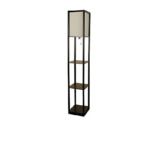 Mainstays Shelf Floor Lamp With Off White Shade Black Floor Lamp