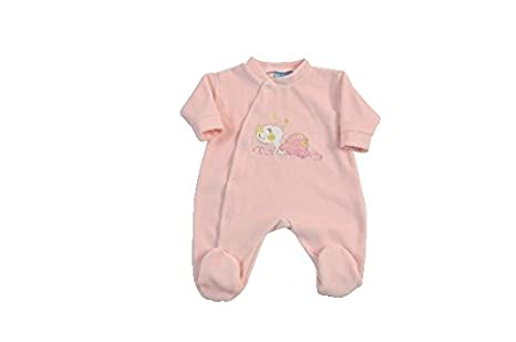 King Bear pijama terciopelo Jolie bordado tortuga con una apertura. Pijama para pequeñas tallas prematuro
