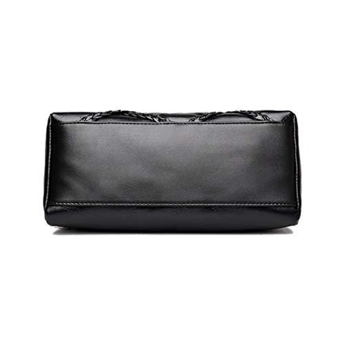 Hombro Bag de la de Cuero para Black Mujeres de Bolsos Black PU Bolso Crossbody 19x28x12cm PqHCxwHz