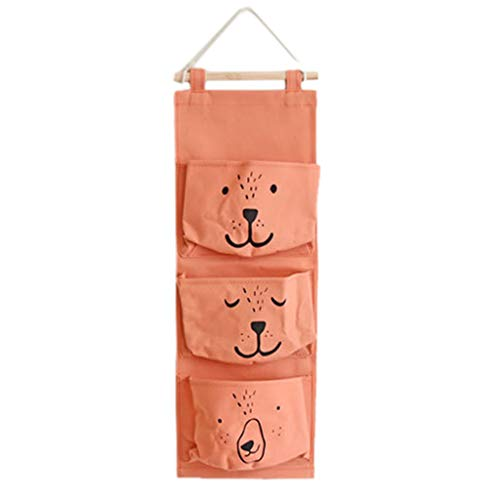 Jieou Wall Mounted 3 Bags Storage Bag Pocket Organizer The Door Linen Cotton Fabric Waterproof Organizer for Babyroom Bedroom and Bathroom Cute Bear Hanging Storage Bag ()