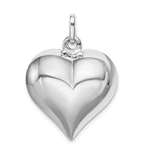 (Mia Diamonds 925 Sterling Silver Puffed Heart Pendant (23mm x 21mm))