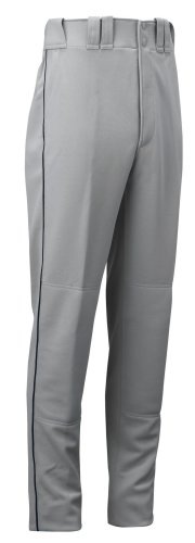Mizuno Full Length Premier Piped Baseball Pant (Grey/Black, Medium) (Pant Unhemmed Baseball)