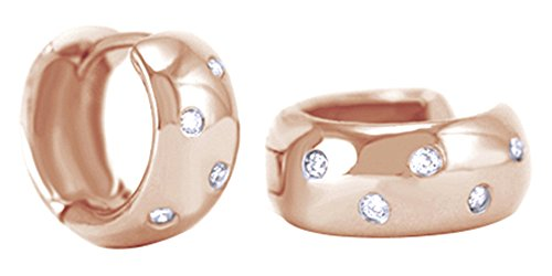 Round Shape White Natural Diamond Huggies Hoop Earrings In 14K Solid Rose Gold (0.12 Ct)