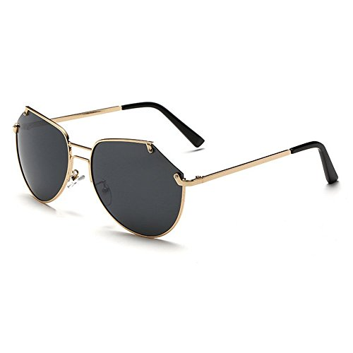 Unisex Vintage Cool Semi-rimless Pilot Sunglasses Driving UV400 Gold Frame Gray - Sunglasses Jlo