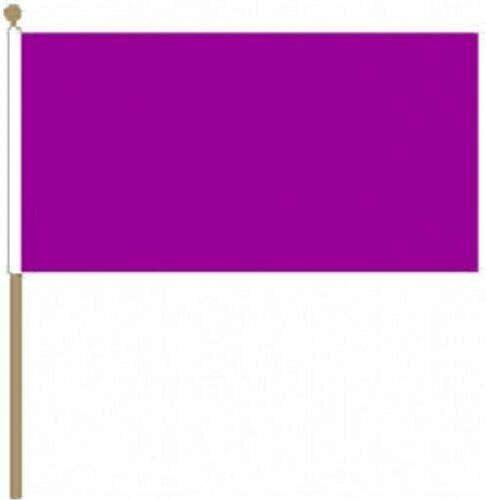 Flagmania® 12 Stück einfarbige lila 30,5 x 45,7 cm große Handwinkel-Flaggen + 59 mm Button Badge
