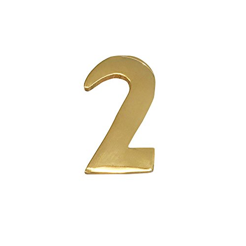 Addresses of Distinction 2-Inch Brass Mailbox Number 2 – Self Adhesive Floating #2 – Williamsburg Font – Won't Tarnish – Weather Resistant – Numbering for Address Plaque, Home, Door, ()