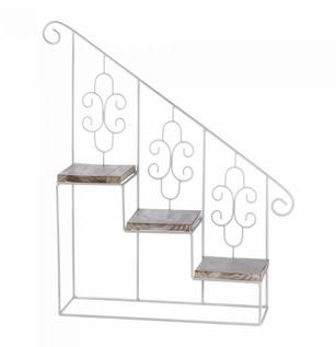 SKB Family White Stair Steps Wall Shelf Iron Pine Wood Planter Unique Style  Hanging Display Decorative