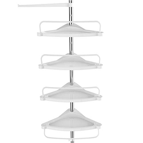 SONGMICS Tension Corner Shower Caddy, Rust-Proof Stainless Steel Pole, Adjustable Floor to Ceiling Bathroom Shelf, 37.4-118.1 Inches,with 4 Trays, 3 Hooks, 1 Towel Bar, White and Silver UBCB02SW (Floor To Ceiling Pole Shelves)