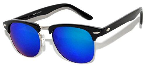 Retro Fashion Classic Black Half Frame Sunglasses Blue-Green Mirror - Sunglasses Green Black And