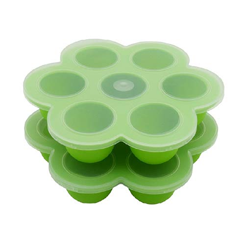 2Packs Instant Pot Accessories, Silicone Egg Bites Molds Fits Instant Pot 5,6,8 qt Pressure Cooker, 7Cups Baby Food Storage Freezer Trays with Silicone Clip-On Lid(Green)