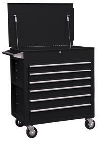 Sunex 8057BK Premium Full Drawer Service Cart- Black by Sunex
