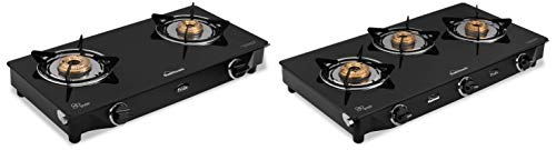 SUNFLAME-GT-Pride-Glass-Top-2-and-Top-3-Brass-Burner-Gas-Stove-Manual-Ignition-Black