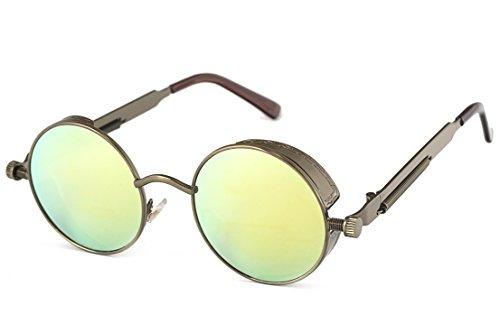 Retro Steampunk Round Sunglasses for Men Women John Lennon Vintage Gothic Circle Sun Glasses (Bronze Frame/Gold Mirrored Lens)
