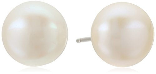 Rhodium Plated Silver 10-10.5mm Freshwater Cultured Pearl Button Stud Earrings