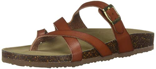 (Madden Girl Women's Bartlet Flat Sandal Cognac Paris 6 M US)