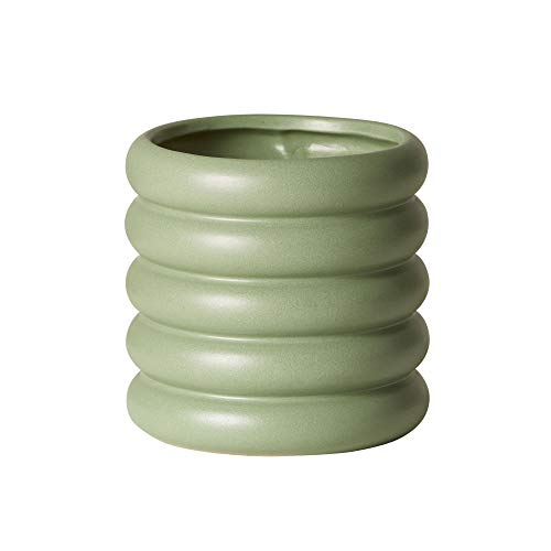 Earthenware Planter - The Sill Ceramic Planter | Dolores Indoor Pots for Plants | Earthenware Coil Cylinder Planter for Small Plants and Flowers | Mini, 4 x 4 inches, Sage