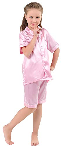 JOYTTON Kids Satin Pajamas Set PJS Short Sleeve Sleepwear Loungewear Pink ()