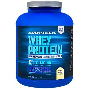 BodyTech Whey Protein Powder with 17 Grams of Protein per Serving Amino Acids Ideal for PostWorkout Muscle Building, Contains Milk Soy Vanilla (5 Pound) (Ideal Milk)