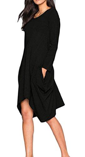 Long Sleeve Dress Shirt Black Casual Loose Women's with T Summer Jaycargogo Pockets ZRnqwxOS4E
