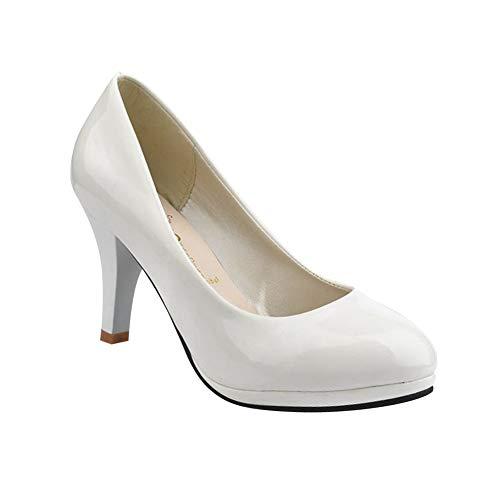 Escarpins Affaires D'uniformes Confortable Travail Briller Femme Aiguille Chaussures Pumps Plateforme Rond Talons Habillées Hauts Blanc Bout Tenthree 7cm AU6wqn