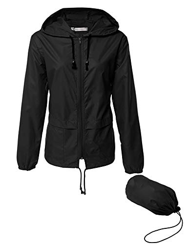 Lightweight Waterproof Raincoat For Women Windbreaker Packable Outdoor Hooded Rain Jacket (L, Black)