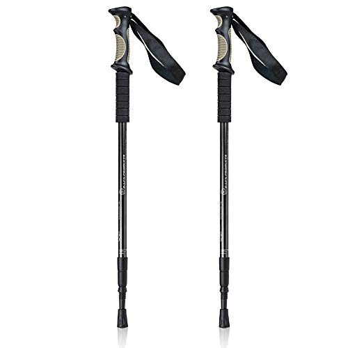 BAFX Products 1 Pair (2 Poles) Adjustable Anti Shock Strong & Lightweight Aluminum Hiking Poles for Walking or Trekking (Black)