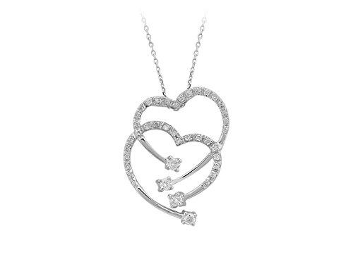 Pendentif Double Cœur de Diamants-Femme- or Blanc 205P0011