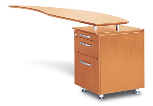 Mayline Napoli Series Curved Desk Return with Pencil-Box-File Pedestal (Right),