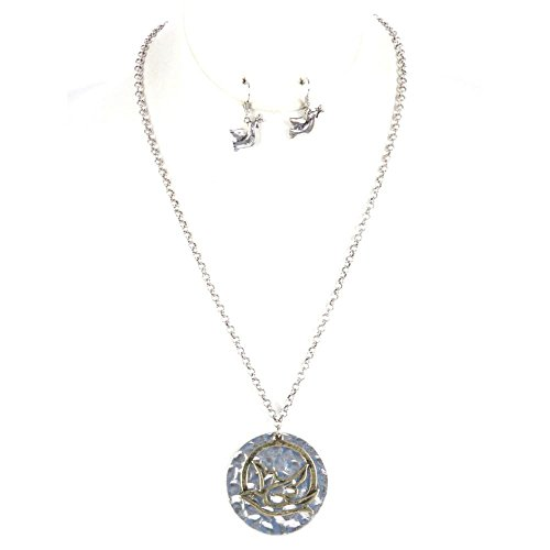 FB Jewels Solid Aged Finish Metal Necklace And Earring Set Cutout Dove Pendant With Hammered Metal Disc
