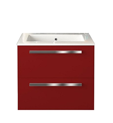 LaToscana AM24OPT1 Ambra 24 inch Modern Bathroom Vanity with 2 Slow Close Drawers, Flat Face, Chrome Handles and Tekorlux Sink Top With Finish: Glossy by La Toscana