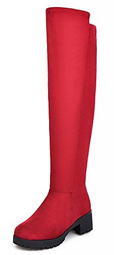 IDIFU Womens Comfy Mid Block Heels Faux Suede Over The Knee Booties Long Boots Red