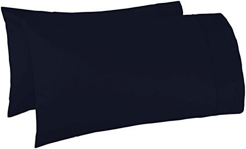 - 500 Thread Count 100% Egyptian Cotton Pillow Cases,Navy Blue Standard Pillowcase Set of 2, Long-Staple Combed Pure Natural 100% Cotton Pillows for Sleeping,Soft & Silky Sateen Weave Bed Pillow Cover.
