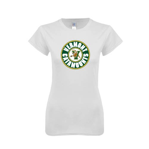 Vermont Next Level Ladies SoftStyle Junior Fitted White Tee 'Vermont Catamounts Circle'
