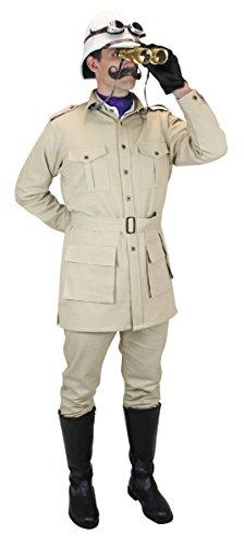 Historical Emporium Men's 100% Cotton Canvas Safari Bush Jacket L Khaki