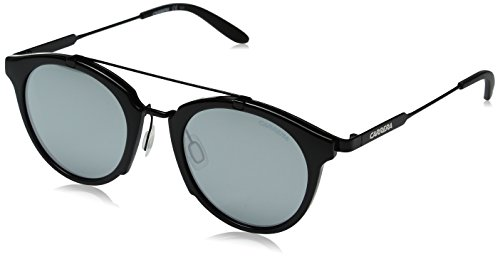 Carrera Men's Ca126s Round Sunglasses, Shiny Black Gold/Black Mirror, 49 mm