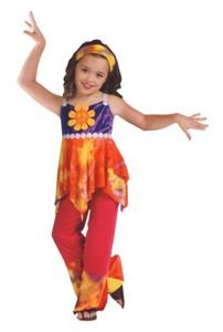 [Tie Dye Hippie Costume - Large] (Tie Dye Dress Costume)