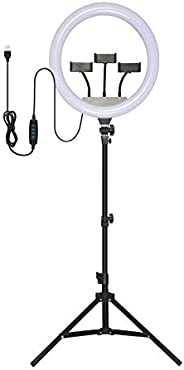 Kit Iluminador Ring Light Com Tripé Dimmer Led 14 Polegadas USB