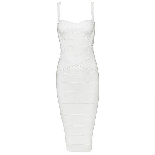 Dress Womens Party Rayon (Whoinshop Women's Rayon Strap Celebrity Midi Evening Party Bandage Dress (L, White))