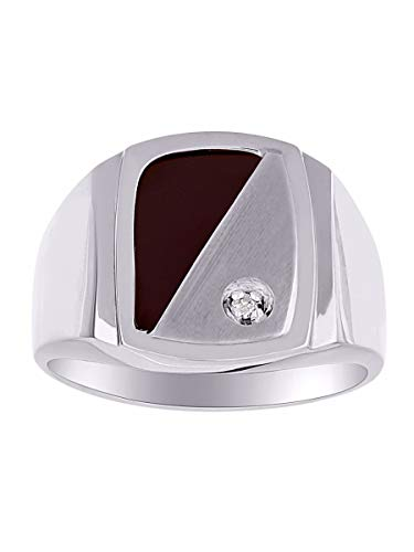 (Mens Diamond & Onyx Ring set in Sterling Silver. Natural Black Onyx Special Cut for this Ring.)