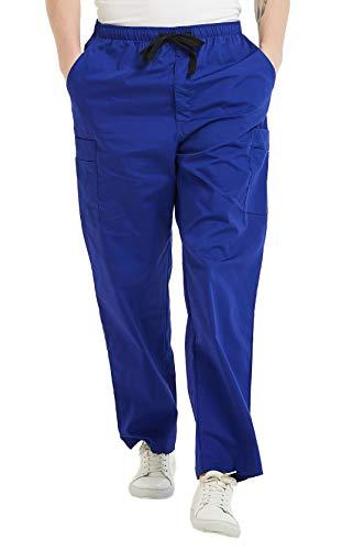(MIEDEON Men's Workwear Revolution Drawstring Quick-Dry Stretch Scrub Pant (Blue, L))