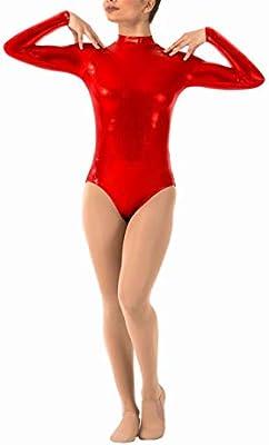 Lionel Philip Leotardo metálico Gris para Mujer Leotardos de Baile de Manga Larga Brillante para Adultos Ballet de Cuello Alto Ropa de Baile Niñas Leotardo Dorado Tops Rojo XXL: Amazon.es: Deportes y