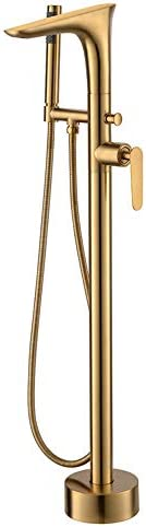 自立型バスタブの蛇口真鍮起毛ゴールド浴槽フィラーセットシングルハンドルフロアマウントバスルームシャワーミキサータップハンドヘルドシャワー、冷たいお湯